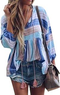 MK988 Women Casual Long Sleeve Drawstring Stripe Print Baggy T-Shirt Blouse Top