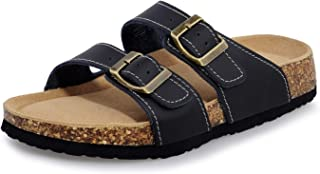 Women's Slide Sandals, Flat Cork Footbed Sandals for Women with Adjustable Double Strap