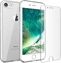 FlexGear iPhone 7 8 case [Aura 360] Slim Clear Hard PC Back TPU Bumper and Glass Screen Protector, Compatible with iPhone 7/8 (Clear)