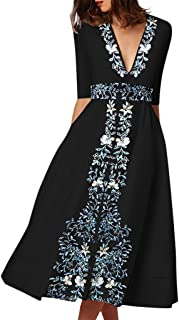 fd53917d5530 Huazi2 Women Vintage Long Ball Gown Prom Print Black Evening Party Swing  Dress