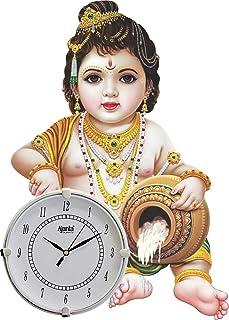Archana Vastva Antique God Krishna Wooden Wall Clock for Home/Living Room/Bedroom/Kitchen (Multicolour, 17 inch)