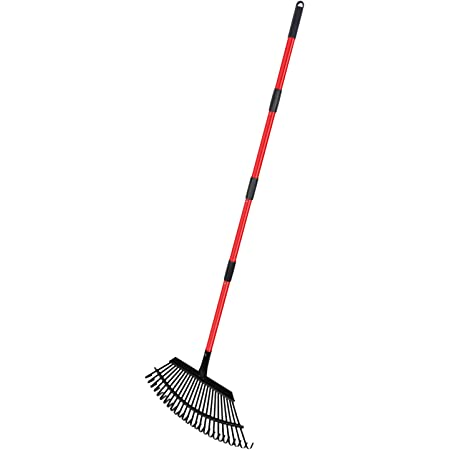 "LUFFWELL Extra Large Adjustable Garden Rake, 38""-63"" Long Handle Metal 25 Tines Shrub Rake, Lightweight Heavy Duty Expanding Thatch Rake, Professional Lawn Rake to Collect Leaf & Poop Among Yards"