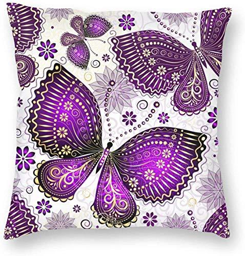 Cozy Throw Pillow Cover Spring Violet-Gold Mariposas y flores Funda de almohada cuadrada decorativa Funda de cojín para dormitorio, sala de estar, sofá, sofá y cama, 16 x 16 pulgadas-16 x 16 pulgadas