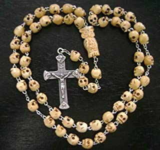 elegantmedical Handmade Tibet Oxen Bone Skull Beads OWL Rosary Jesus Crucifix Catholic Necklace Cross