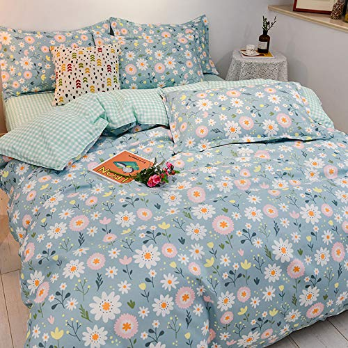 4-Piece Set Of Rustic Style Small Floral Pattern Bed Sheet, Machine Washable Non-Wrinkle Breathable Bedding, Flat Sheet With Elastic Corners For All Seasons