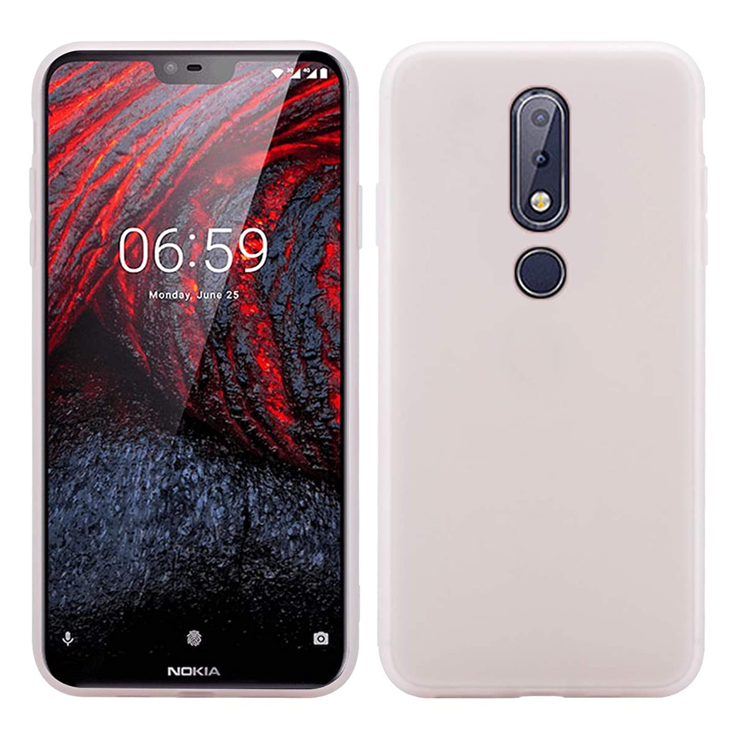 オーロック雪だるまレインコートNokia 6.1 Plus シェル [ パーフェクト 合う ] シリーズ シェル シェル 重い 義務 保護 緩衝器 シェル の Nokia 6.1 Plus (White)