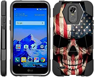 TurtleArmor | Compatible with LG Stylo 3 Case | LG Stylus 3 Case | Stylo 3 Plus [Dynamic Shell] Hybrid Dual Layer Hard Shell Kickstand Silicone Case - US Flag Skull