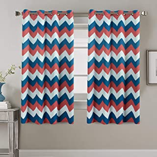 Blackout Curtains Panels for Bedroom - Three Pass Microfiber Noise Reducing Thermal Insulated Solid Ring Top Blackout Window Drapes (Two Panels, 52 x 63 Inch, Chevron Coral and Blue Moon)