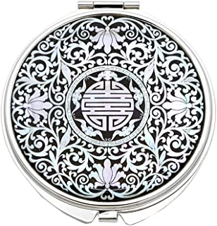 Portable Makeup Compact Double Magnifying Mirror Cosmestic Foldable Pocket Style Unique Mother of Pearl Design (Arabesque)