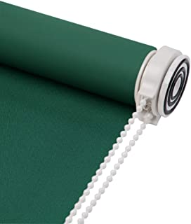 Skansen Tension Roller Blinds Blackout Fabric Custom Made Any Size from 20-90 inch Wide UV Protection Energy Saving Block 100% Light Window Shades for Home, Hotel, Club, Restaurant (Dark Green)