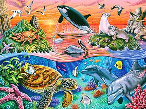 DIY 5D Diamond Painting Bambini Adulti Punto Croce Il mondo sottomarino mosaico Cristallo Strass Ricamo tela fai Pittura diamante Kit Soggiorno Decorazione Parete per Arte e Artigianato 90x110cm