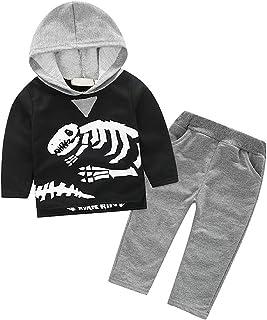 ggudd Bebes Niños Trajes Hood Camisa de Entrenamiento Tops y Pantalones Dinosaurio Impreso Serie de Ropa