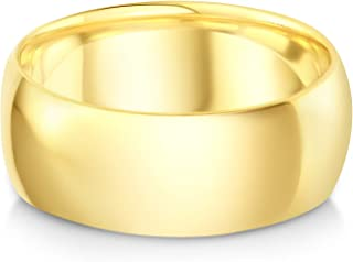 Ioka - 14k Solid Yellow Gold 8mm Plain Standard Classic Fit Traditional Wedding Band Ring