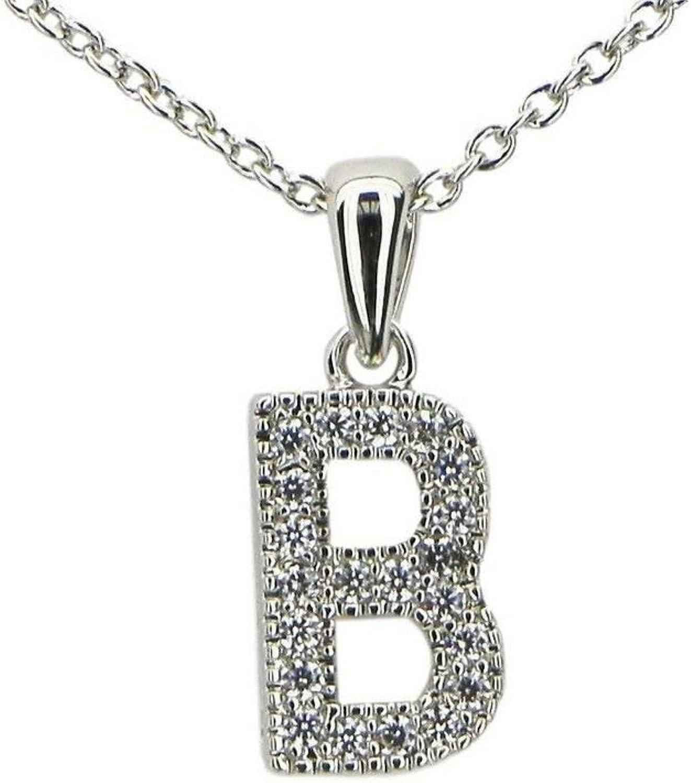 Jewels Fashion Hypo Allergenic Fine Cubic Zirconia Initial Pendant Necklace (B)