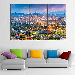 TUMOVO City Skyline on Canvas 40'' x 20'' x 3 panels Multi