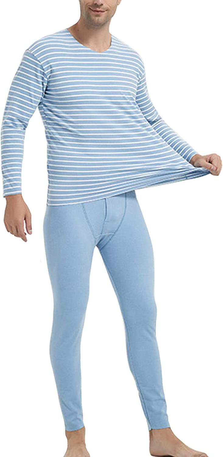 Legou Men's Long Johns V-Neck Constant Temperature Thermal Underwear Sets with Fleece Lined