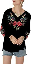 AK Women's V Neck Boho Embroidered Mexican Tops Long Sleeve Shirts Casual Loose Tunics Blouse
