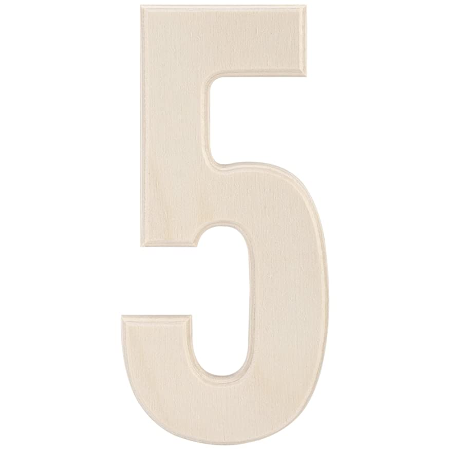 MPI Baltic Birch University Font Letters and Numbers, 5-Inch, Number 5