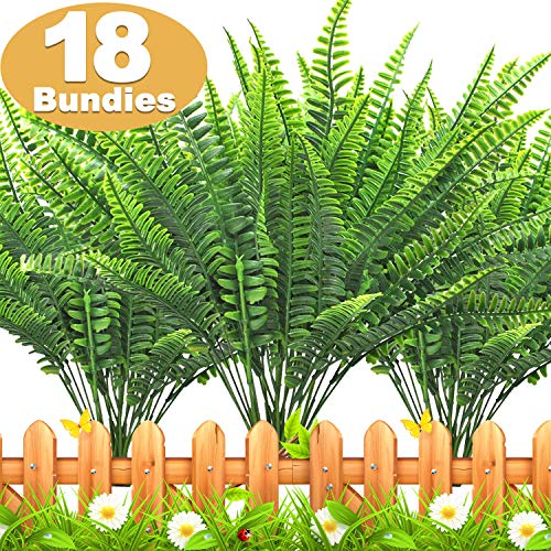 TURNMEON 18 PCS Artificial Plants Greenery, Fake Boston Fern Bush Plant Bushes Faux Outdoor UV Resistant Daffodils Greenery Shrubs Plants Indoor Outside Hanging Planter Home Garden Decor (Green)