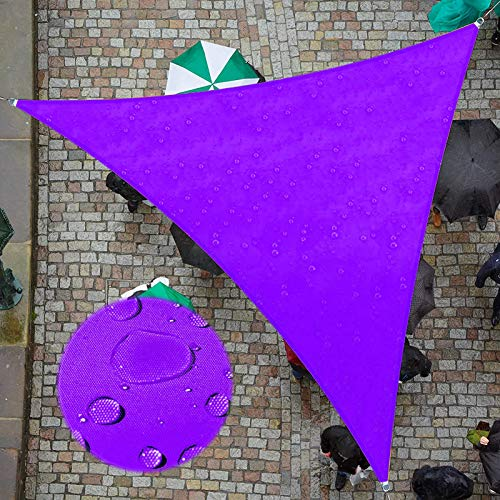 ZJHTK Toldo del Toldo, Triangulares Silvestres de Tela de Triangulares, Protector de Sol Impermeable UV con Cuerda, 5Mx5mx5m para Patio Al Aire Libre Patio Garden Beach Party,Púrpura