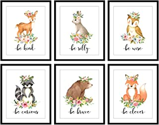 Bestbuddy Pet Set of 6 (8X10) Unframed Woodland Animals Deer Bunny Owl Raccoon Bear Fox with Flowers Crown Nursery Quotes Art Prints Set Kids Baby Girl Room Wall Decor BBPAP004d