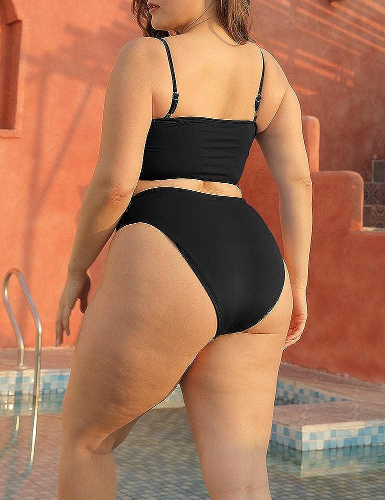 ALLEGRACE Two Piece Women Plus Size Swimsuit Spaghetti Straps Modest Bikini Swimsuits