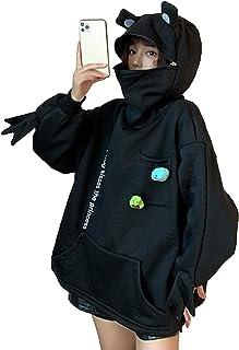 Kvinnor Söt Groda Hoodie, Novelty Oversized Loose Pullover Zip Up Hooded Top Sweatshirt med fickan (Color : Black#01, Size...