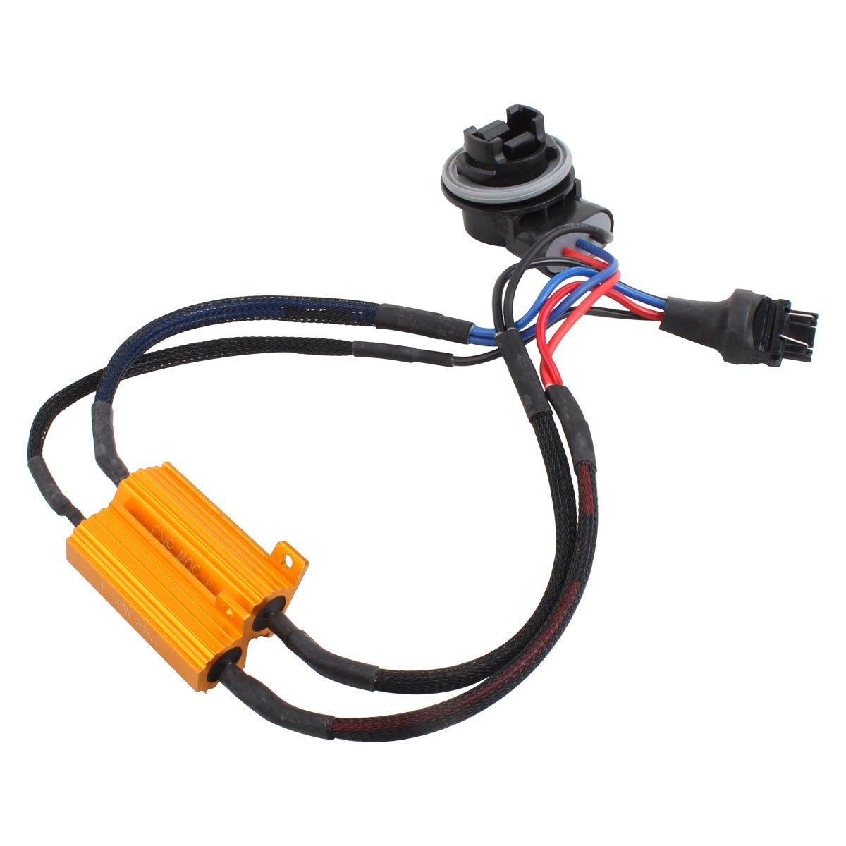 TOMALL 3157 T25 50W 8ohm resistencias LED decodificador antiparpadeo para bombillas de luz de freno 2 pesta/ñas