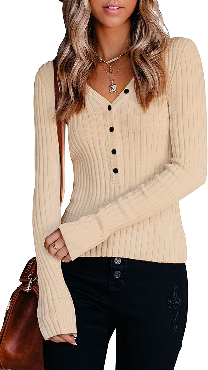 PRETTYGARDEN Long Sleeve Henley Shirts for Women - Button V Neck Basic Slim Fitted Ribbed Knit Tunic Sweater Tops