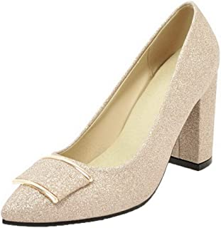 VogueZone009 Women's Pull-On Sequins High-Heels Solid Pumps-Shoes, CCADP011078