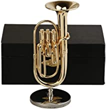 Seawoo Copper Miniature Baritone Horn with Stand and Case Mini Musical Instrument Miniature Dollhouse Model Mini Tuba Home Decoration (3.94