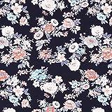 Fabulous Fabrics Jersey marineblau, Blume, 150cm breit