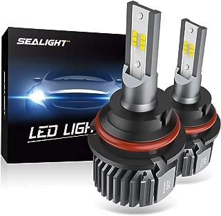 SEALIGHT 9007 HB5 LED Headlight Bulbs Fanless 6000K White High Low Beam CSP Chips Halogen Headlight Replacement 30W 5000Lumens