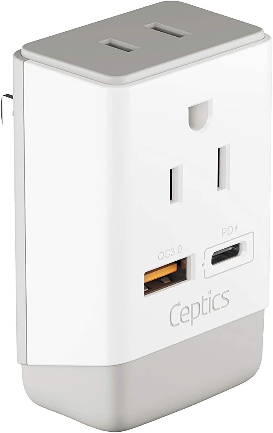Japan, Philippines Power Travel Plug Adapter, QC 3.0 & PD by Ceptics, Safe Dual USB & USB-C - 2 USA Socket Compact & Powerful - USA 3 Pin Polarized to 2 Prong Unpolarized - Type A - AP-6 Fast Charging