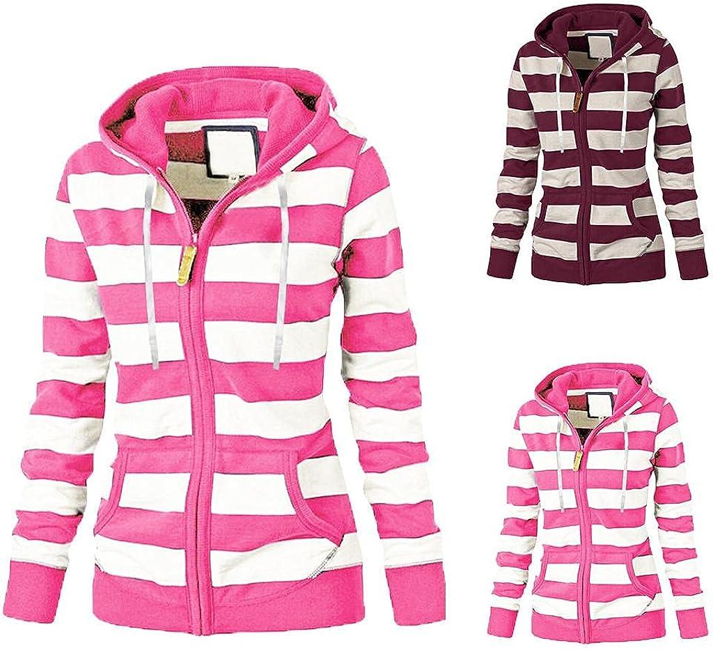 lucyouth Fall Sweatshirts for Women Casual Coat Hoodies Top Long Sleeve Drawstring Stripe Patchwork Pocket Sweatshirt