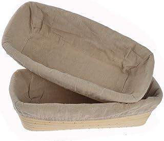 Leecarle cesta de pruebas 7.9  redondo cuenco de rat/án para masa de pan con 2 cubiertas de tela