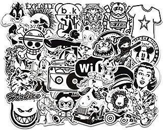 50 قطعة من ملصقات لاب توب باللون الاسود والابيض يمكن لصقها على السيارة لامتصاص الصدمات والدراجة النارية والامتعة ولوح التز...