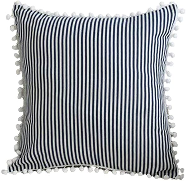 Dream Home Simple Japan Style Square Pillowcase Sweet Princess Design With White Pompom Ball Pillow Cover Black 17 7 X 17 7 Inch