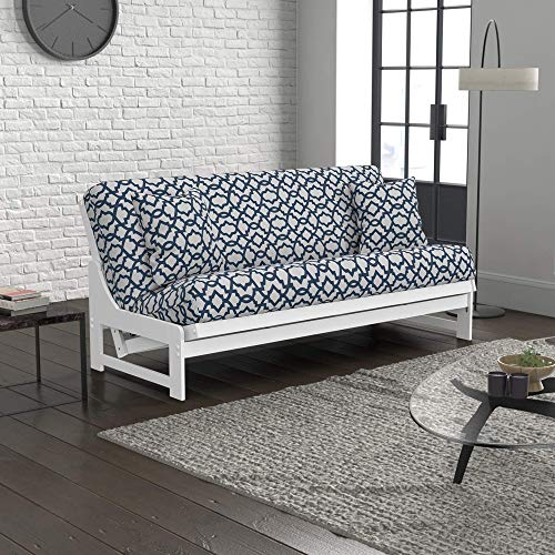 Nico Urban Loft Convertible Sleeper Sofa Collection by Nirvana Futons - Queen Size White Armless Arden Futon Frame, Pillows, Mattress and Sheffield Futon Cover Set
