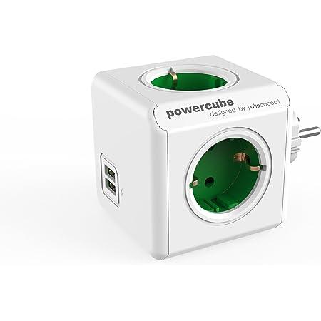 Allocacoc PowerCube DuoUSB Original Verde, Ladrón Multiple con 4 enchufes/Tomas de Corriente y 2 de USB en Forma de Cubo, Blanco Verde