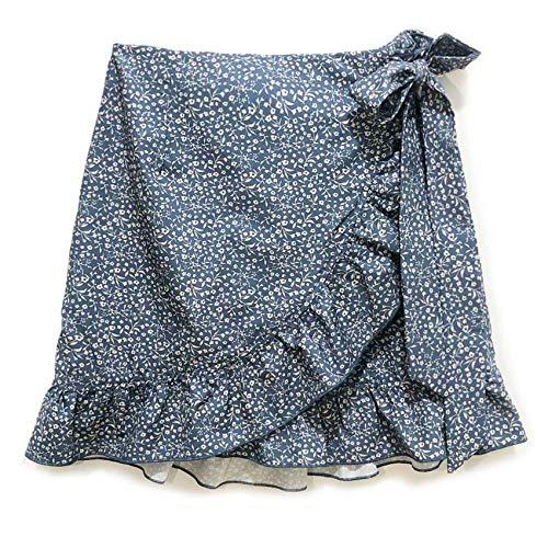 WZXHNYYZYQ Ladies High-Waist Lace-Up Short Skirt Ruffled Irregular Print Zipper Skirt Blue