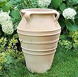 Kreta Ceramica realizzata a mano in terracotta con manico, assolutamente resistente al gelo e alle intemperie, 50 cm, per interni, giardino e terrazzo, balcone Datura