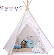 BRIAN & DANY Large 5 Wooden Poles Teepee Kids Tent, 100% Cotton Tipi with Floor Mat & Fairy Star Lights2 & Colorful Flags & Carry Case