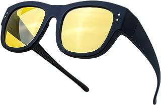HD Night Vision Driving Wrap Around Polarized Sunglasses Anti-Glare Yellow Lens for Prescription Glasses - Gift Box Package