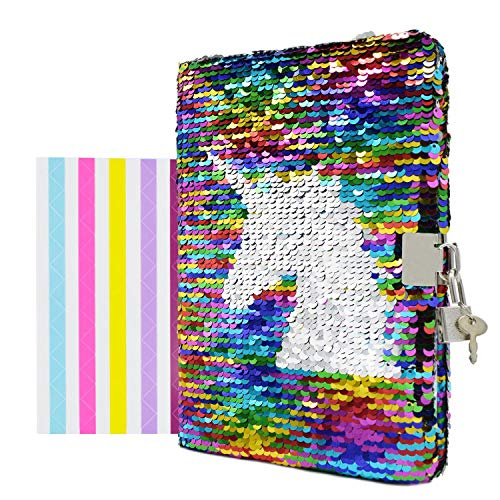 VIPbuy Magic Reversible Unicorn Sequin Notebook Diary Lined Travel Journal with Lock and Key for Kids Girls, Size A5 (8.5