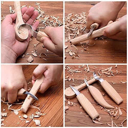 Wood Carving Tools Kit | Sloyd, Hook, Detail Knives | Hardwood Handle Grips Carbide Blades, Bonus Sharpener Included All Inclusive 4 Piece Set