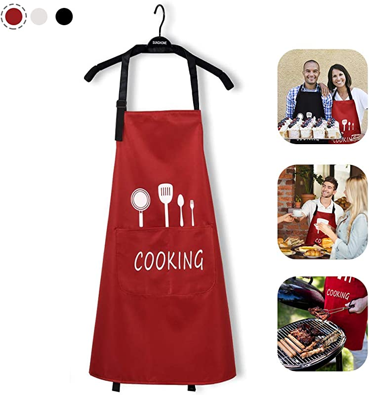 Kitchen Aprons For Women Water Resistant With Big Pockets Adjustable Cute Aprons Waterproof And Oil Proof Cooking Bib Barbecue For Men Funny