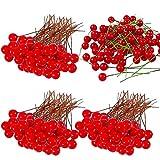 LLMZ Artificiale Bacche di Agrifoglio 300 Pezzi Mini Bacche Rosse Decorazioni per Ghirlande per Albero di Natale Fai da Te Decorazioni per la casa Corona di Fiori Uso Artigianale, 1-2cm