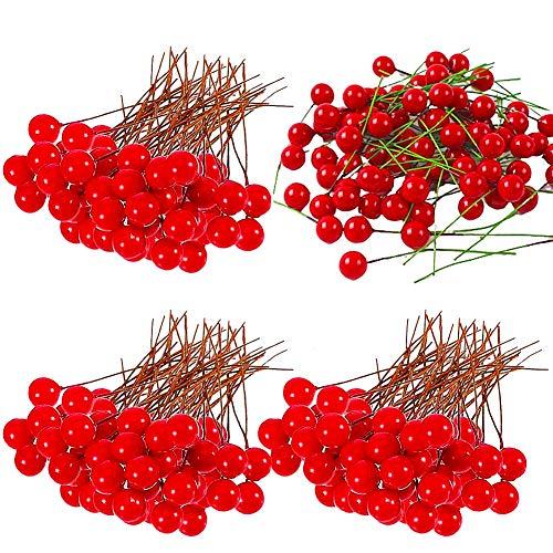 LLMZ Acebo Artificial Bayas Rojas 300 Piezas Mini de Bayas Falsas Guirnaldas de Navidad Decoraciones Árbol de Navidad DIY Guirnalda Fabricación de Suministros Diámetro 1-2cm (Rojo)