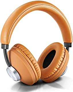 wireless headset, stoga over-ear headphones with mic bluetooth earphones with stereo bass (brown)